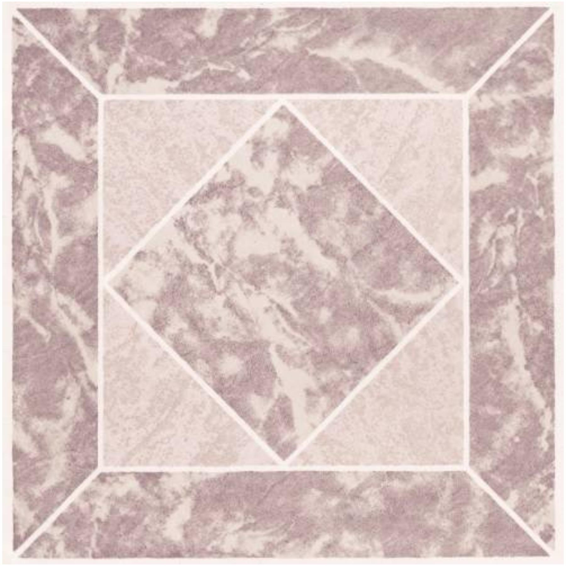 Winton Self-Adhesive Vinyl Floor Tile, 12X12 In., 1.1 mm, Rose Marble