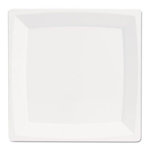 Wna Milan Plastic Dinnerware, Plate, 9.25 in sq, Plastic, White