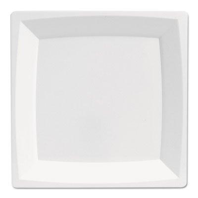 Milan Plastic Dinnerware, Plate, 8.25 in sq, Plastic, White
