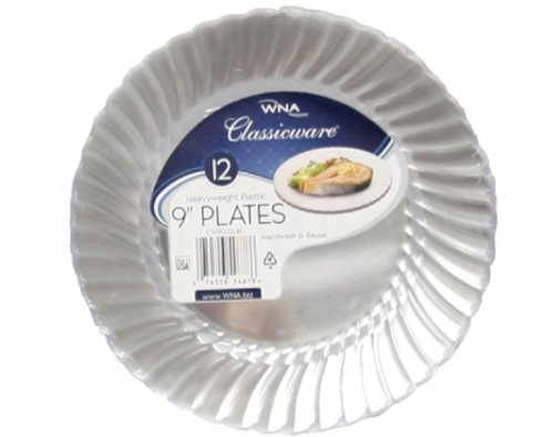 "Classicware Plastic Plates, 9"" Diameter, Clear, 12 Plates/Pack"