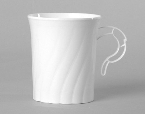 Classicware Plastic Coffee Mugs, 8 oz., White, 8/Pack