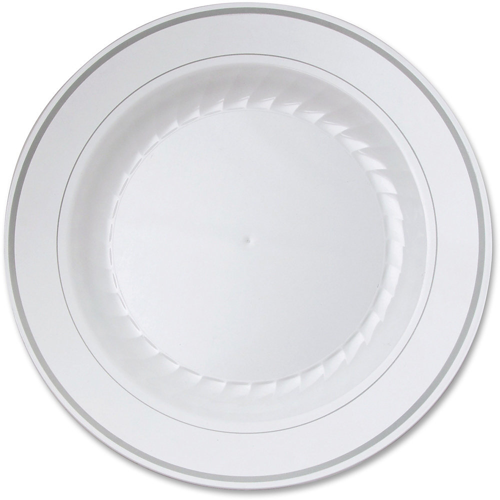 "Masterpiece Plastic Dinnerware, White/Silver, 10 1/4"", 10/Pack"