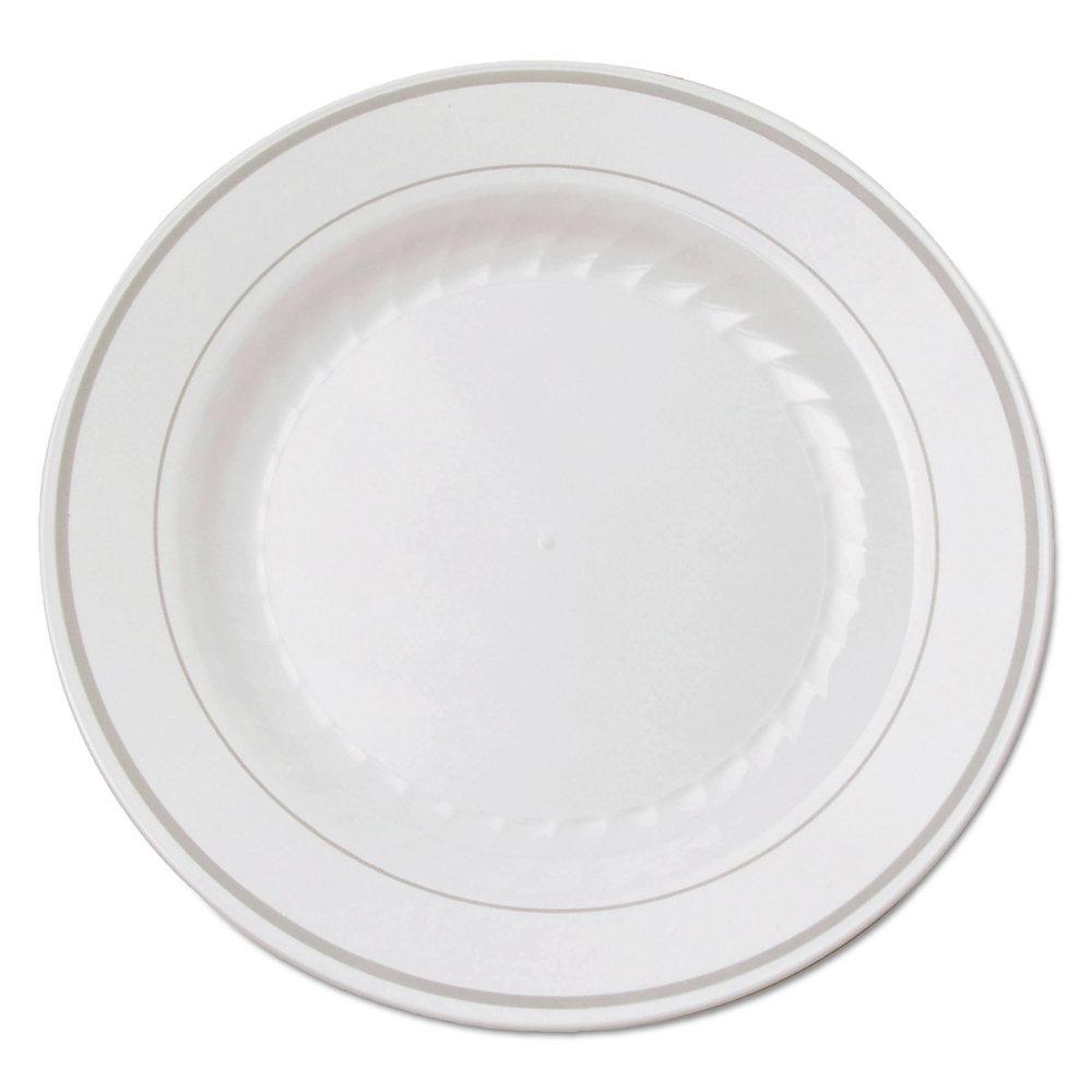Masterpiece Plastic Plates, 6 in., White w/Silver Accents, Round, 120/Carton