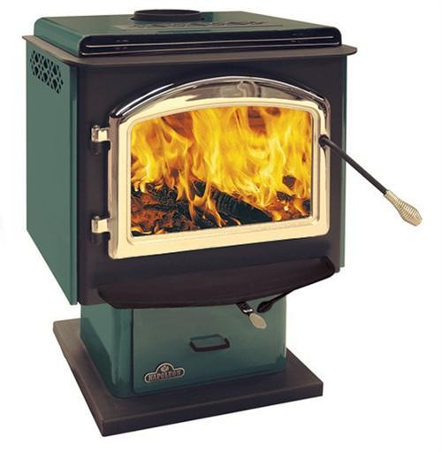 1100F Small - Green Porcelain With Gold Louvers - Wood Stove