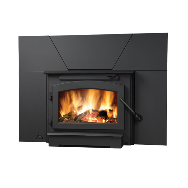 EPI22 Timberwolf Small Wood Burning Fireplace Insert with Blower Kit, Black Door and Surround