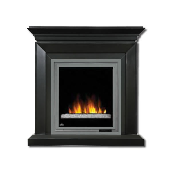 EFMD30GK Electric Fireplace (Glass) With Bevelled Edge Deluxe Mantel, Painted Black