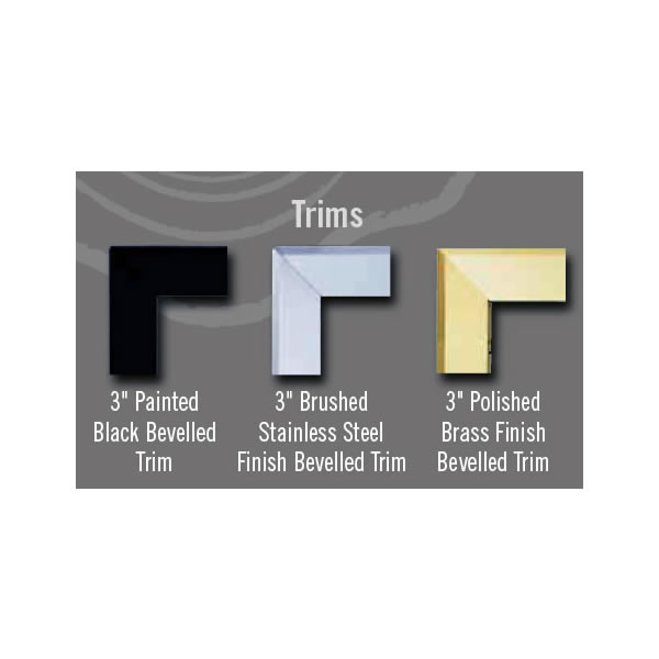 "TB333PB Trim Kit, Bevelled, 3"" - Polished Brass (Covers Opening 35""W X 30""H)"