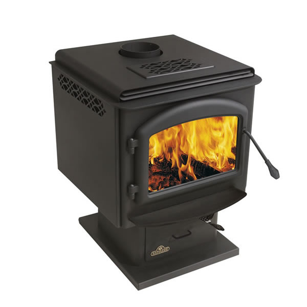 1100K Small - Black Porcelain With Gold Louvers - Wood Stove