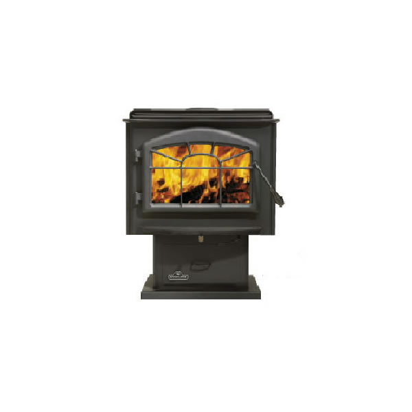 1900P Large - Painted Black With Black Louvers - Wood Stove