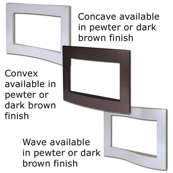 S36CCN** Concave Surround C/W Top & Hearth Satin Chrome Trim - Brown