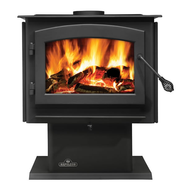 1450M Napoleon Medium Wood Burning Stove, Metallic Black