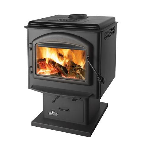 1400M Napoleon Medium Pedestal Wood Burning Stove, Metallic Black