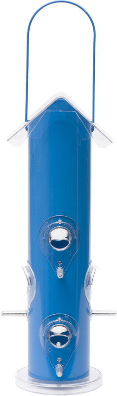391 BLUE METAL TUBE Bird Feeder