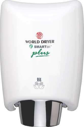 WORLD DRYER INTELLIGENT HAND DRYER, WHITE, 12.5X9.3X7.6 IN., 110/120 VOLTS, 3.3-10 AMPS