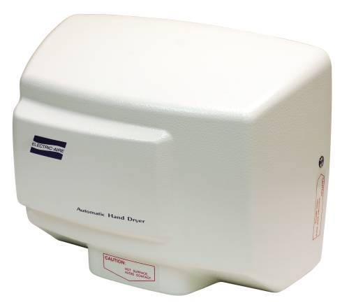 WORLD DRYER HAND DRYER, WHITE, 8.8X11.25X5.9 IN., 120 VOLTS, 13 AMPS, 108 CFM