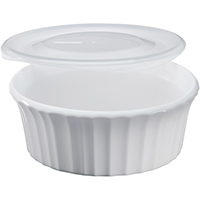 Corningware 1114931 Round Baker Dish With Plastic Lid, 16 oz Capacity, Stoneware, French White