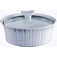 Corningware 1105932 Round Casserole Dish With Glass Lid, 1.5 qt Capacity, Stoneware, French White