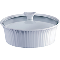 Corningware 1105930 Round Casserole Dish With Glass Lid, 2.5 qt Capacity, Stoneware, French White