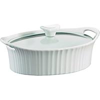 Corningware 1105929 Oval Casserole Dish, 1.5 qt Capacity, Stoneware, French White