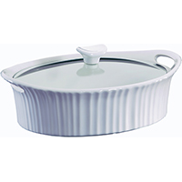 Corningware 1105935 Oval Casserole Dish With Glass Lid, 2.5 qt Capacity, Stoneware, French White