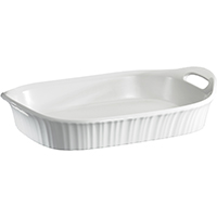 Corningware 1105936 Oblong Casserole Dish, 3 qt Capacity, Stoneware, French White