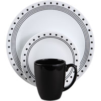Corelle Vitrelle 1074208 Dinnerware Set, 16 Pieces, Durable Stoneware, Black/White