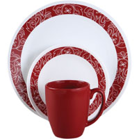 Corelle Vitrelle 1103061 Dinnerware Set, 16 Pieces, Durable Stoneware, Red/White