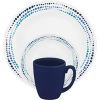 Corelle Vitrelle 1119403 Dinnerware Set, 16 Pieces, Durable Stoneware, Ocean Blues
