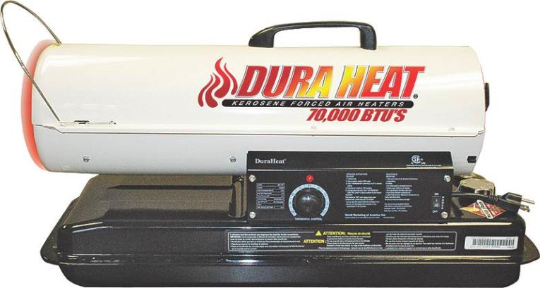 DuraHeat DFA75T Forced Air Heater with Thermostat, 80000 BTU, 1800 sq-ft, 1500 W, Kerosene