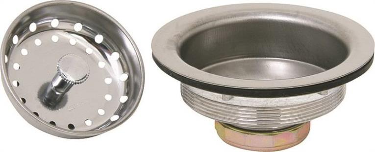WorldWide Sourcing 8039CP-3L Sink Basket Strainer Assembly, Stainless Steel