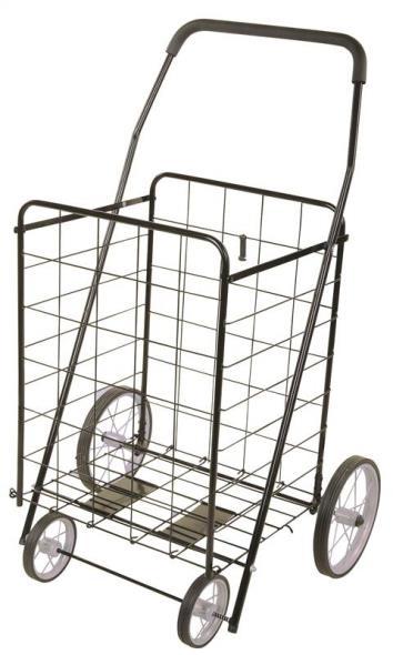 MintCraft TPG-G80023L Foldable Shopping Cart, 154 lb, 25 in L x 21-1/2 in W x 40-1/2 in H, Black