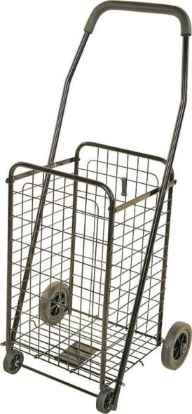 MintCraft TPG-G80033L Foldable Shopping Cart, 88 lb, 19 in L x 14 in W x 38 in H, Solid Rubber Tires, Black