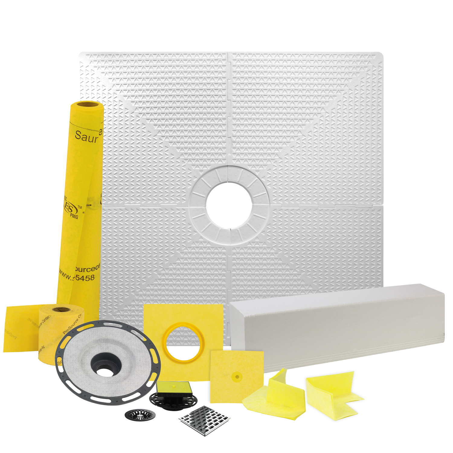 Pro GEN II 48� x 48� Tile Shower Waterproofing Kit with Center Drain and ABS Flange