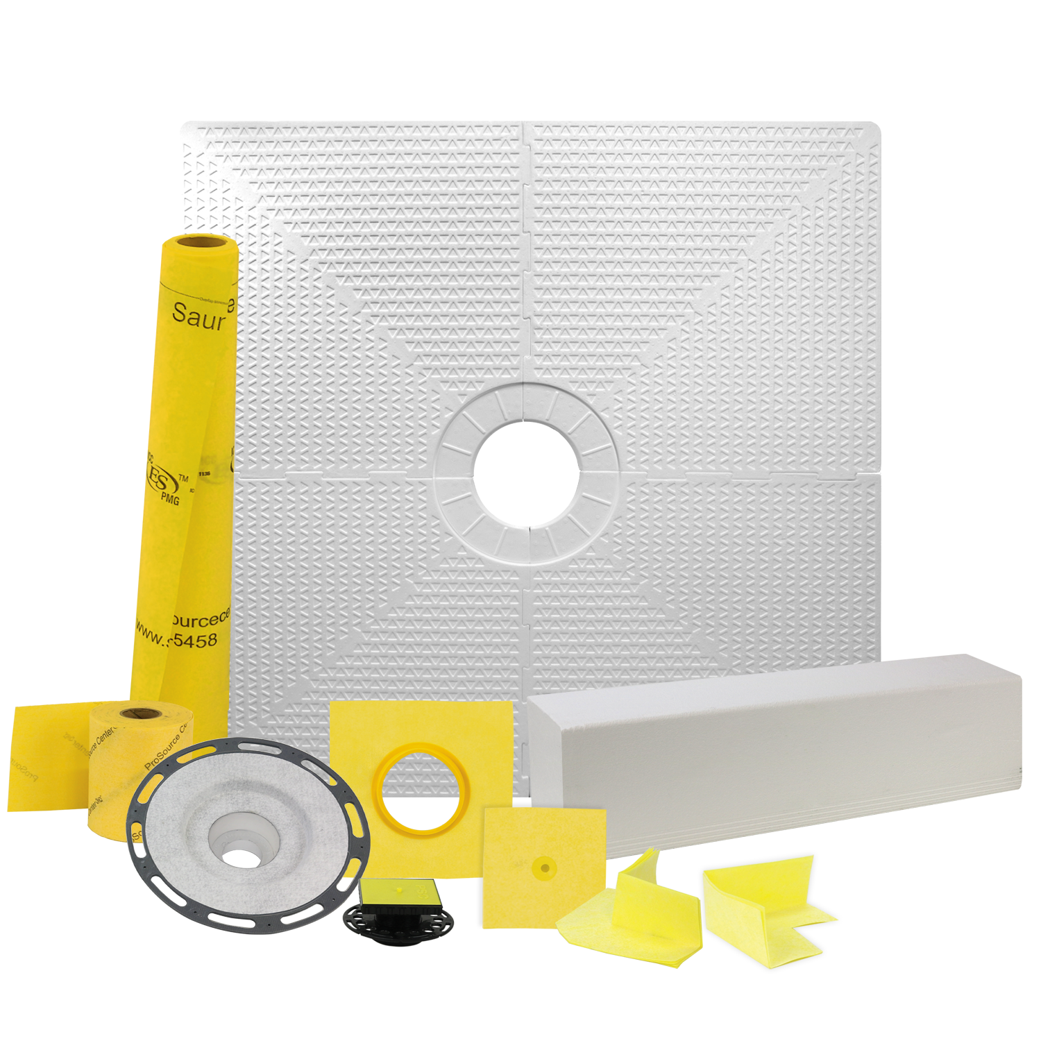 Pro GEN II 48� x 48� Tile Shower Waterproofing Kit with Center Drain and PVC Flange