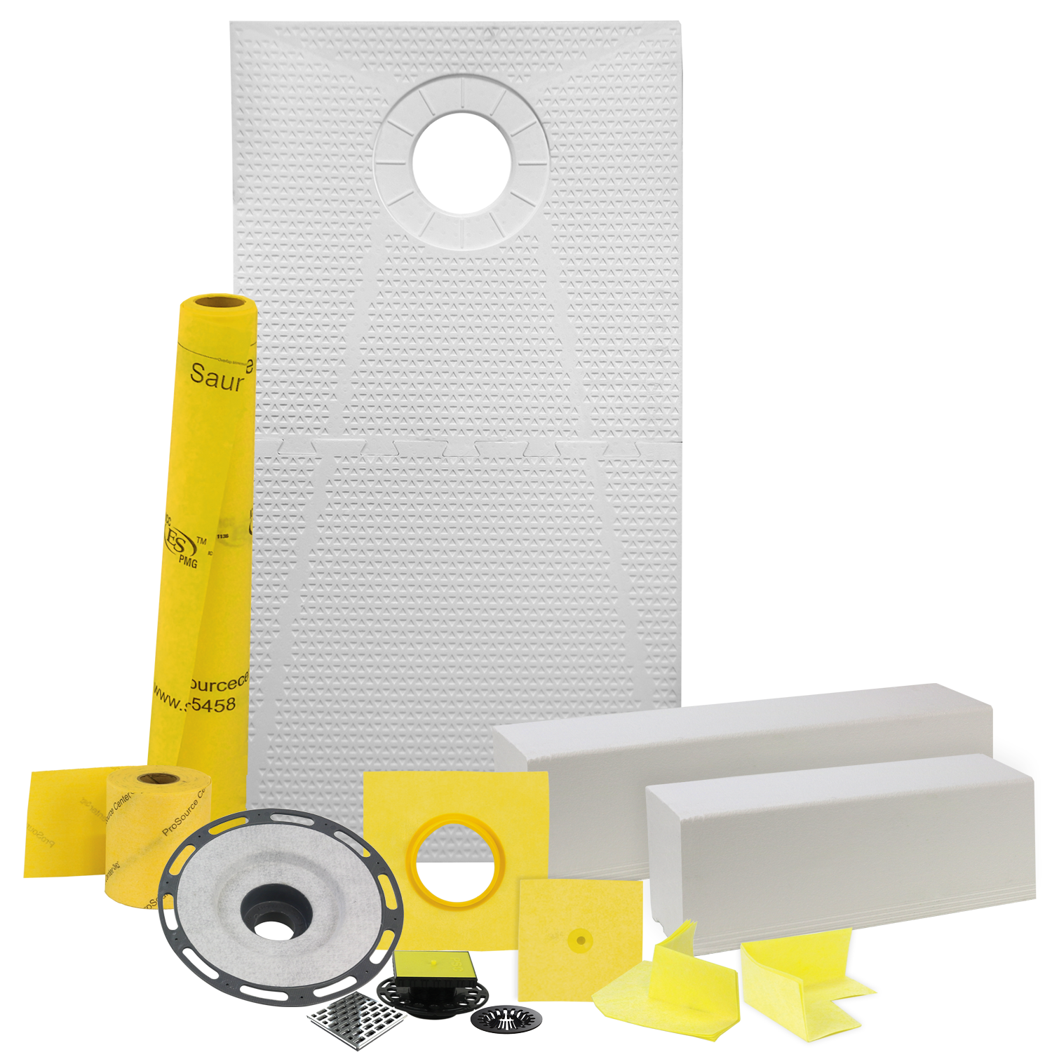 Pro GEN II 32� x 60� Tile Shower Waterproofing Kit with Offset Drain and ABS Flange