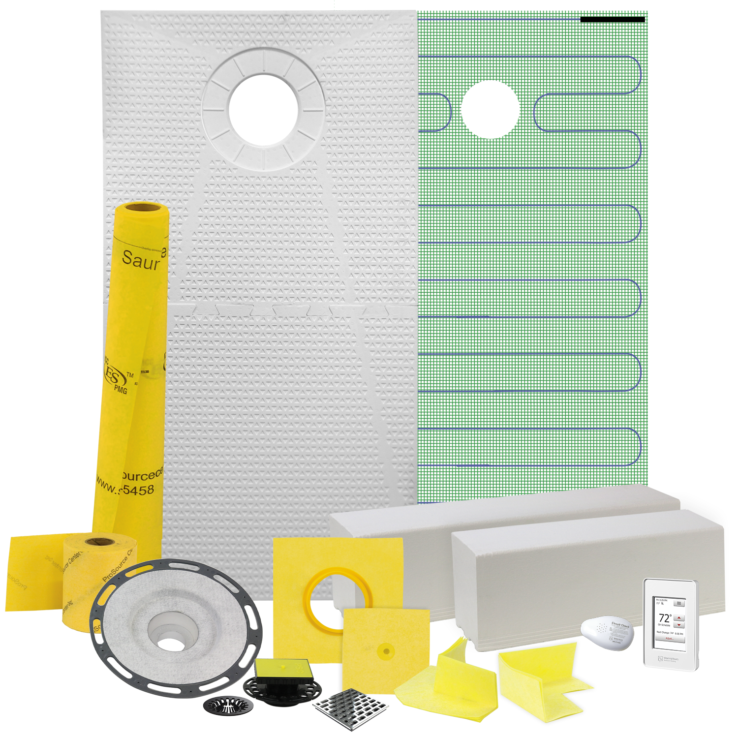 Pro GEN II 32� x 60� Floor Heating and Shower Waterproofing Kit with Center Drain and PVC Flange