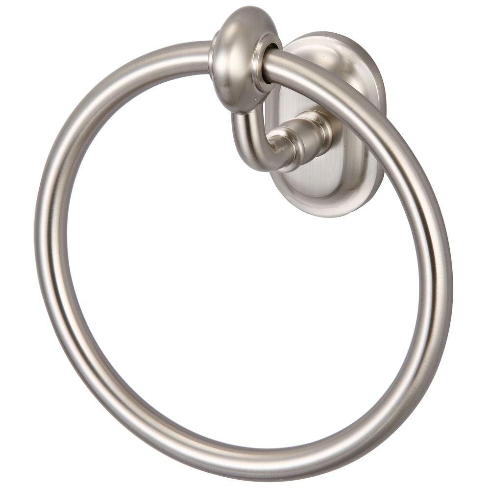 Elegant Matching Glass Series Towel Ring, Brushed Nickel With Protective Coating