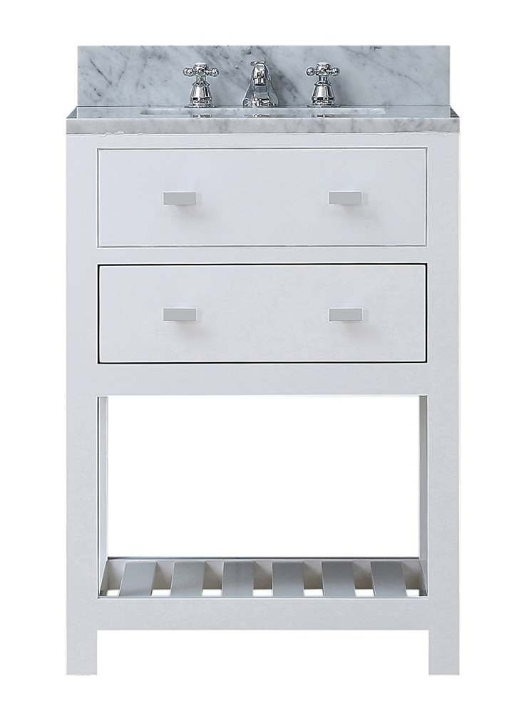 "24"" Solid White Single Sink Bathroom Vanity From The Madalyn Collection"