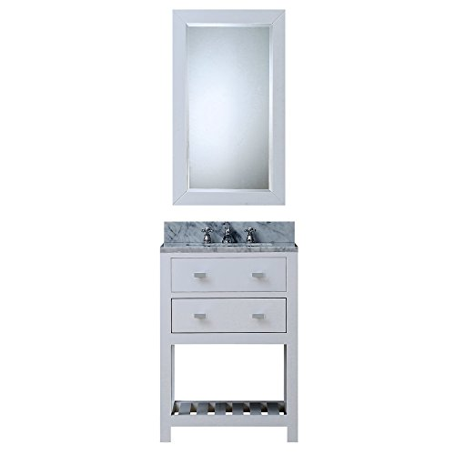 "24"" Solid White Single Sink Bathroom Vanity With Matching Framed Mirror From The Madalyn Collection"