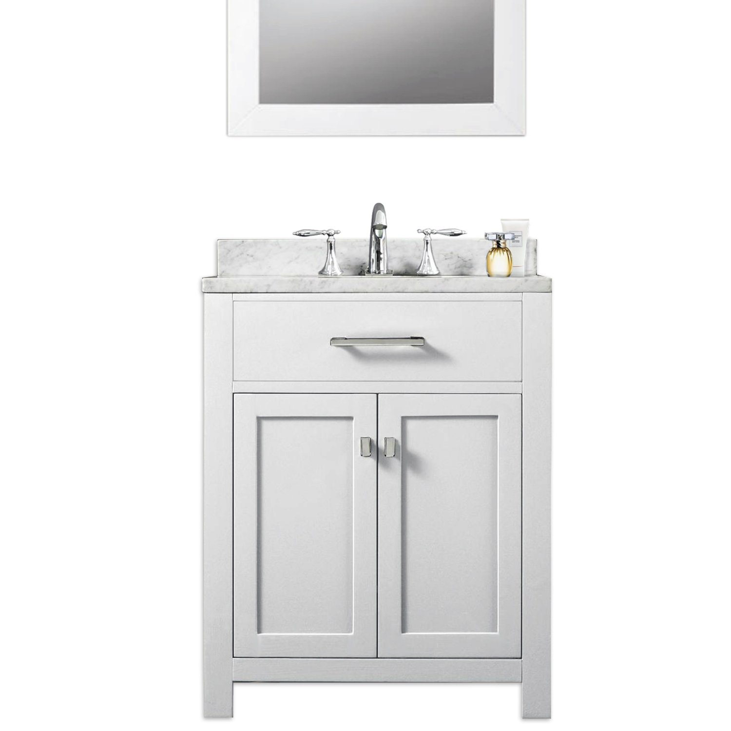 "Madison 24W 24"" Solid White Single Sink Bathroom Vanity From The Madison Collection, Pure White"