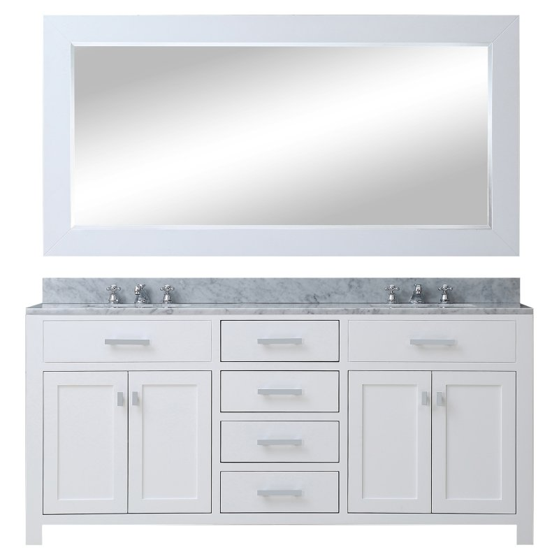 "Madison 60W 60"" Solid White Double Sink Bathroom Vanity From The Madison Collection, Pure White"