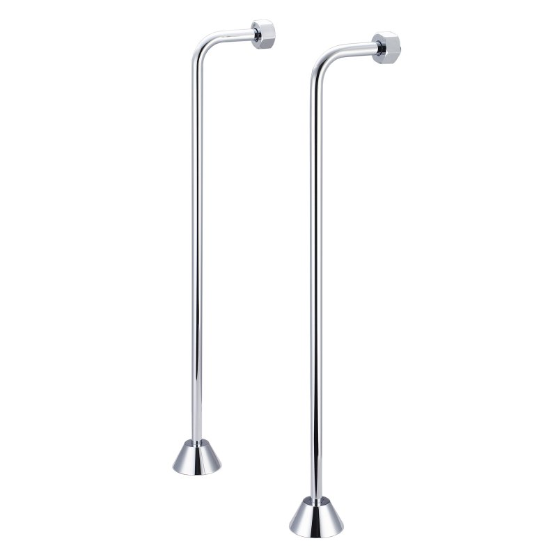 Single Offset Supply For Claw Foot Or Elegant Tubs, Hand Polished, Richly Triple Plated Chrome