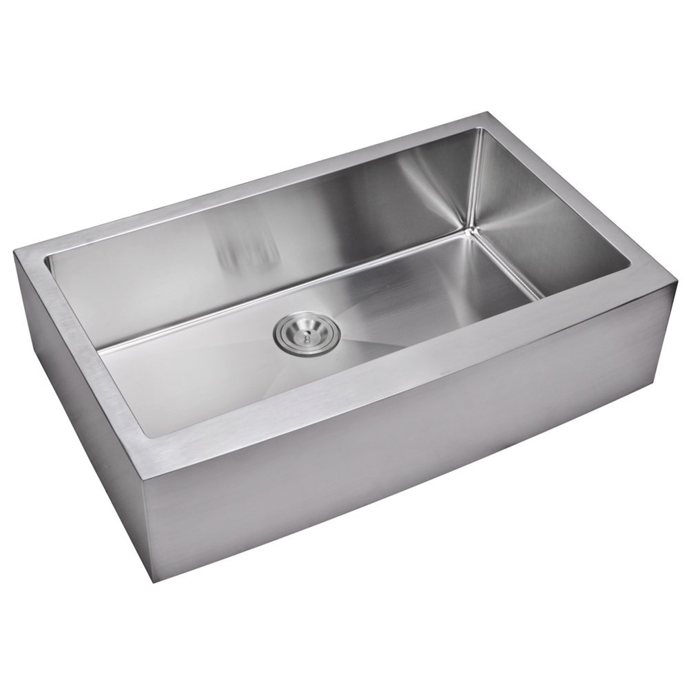 "36"" X 22"" 15 mm Corner Radius Single Bowl Stainless Steel Hand Made Apron Front Kitchen Sink With D"
