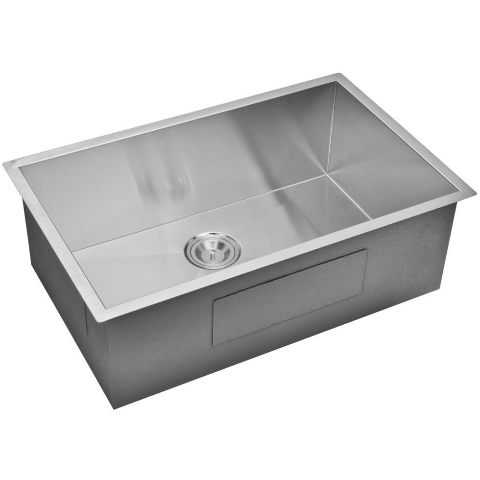 "30"" X 19"" Zero Radius Single Bowl Stainless Steel Hand Made Undermount Kitchen Sink With Drain, Str"