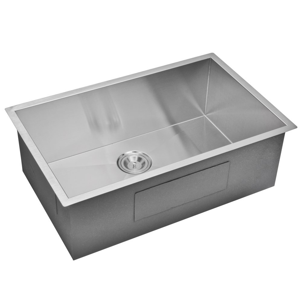 "32"" X 19"" Zero Radius Single Bowl Stainless Steel Hand Made Undermount Kitchen Sink With Drain, Str"