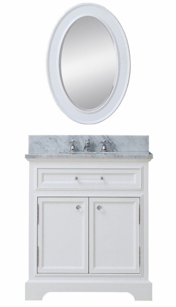"""Water Creation Derby 30W 30"""" Solid White Single Sink Bathroom Vanity From The Derby Collection"""