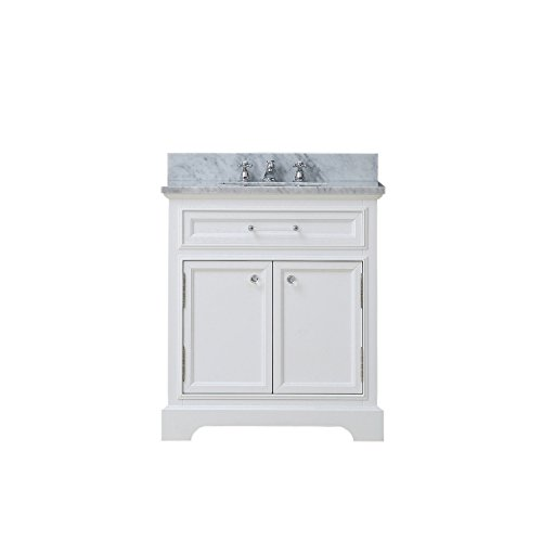 """Water Creation Derby 30WF 30"""" Solid White Single Sink Bathroom Vanity And Faucet From The Derby Collection"""