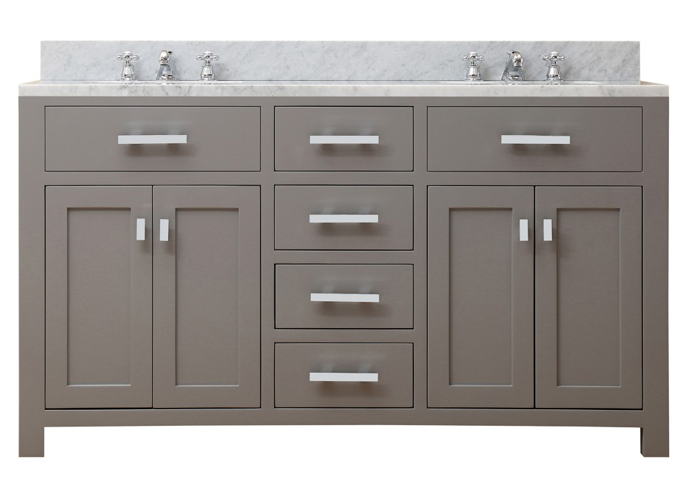 "Water Creation Madison 60G 60"" Cashmere Grey Double Sink Bathroom Vanity"