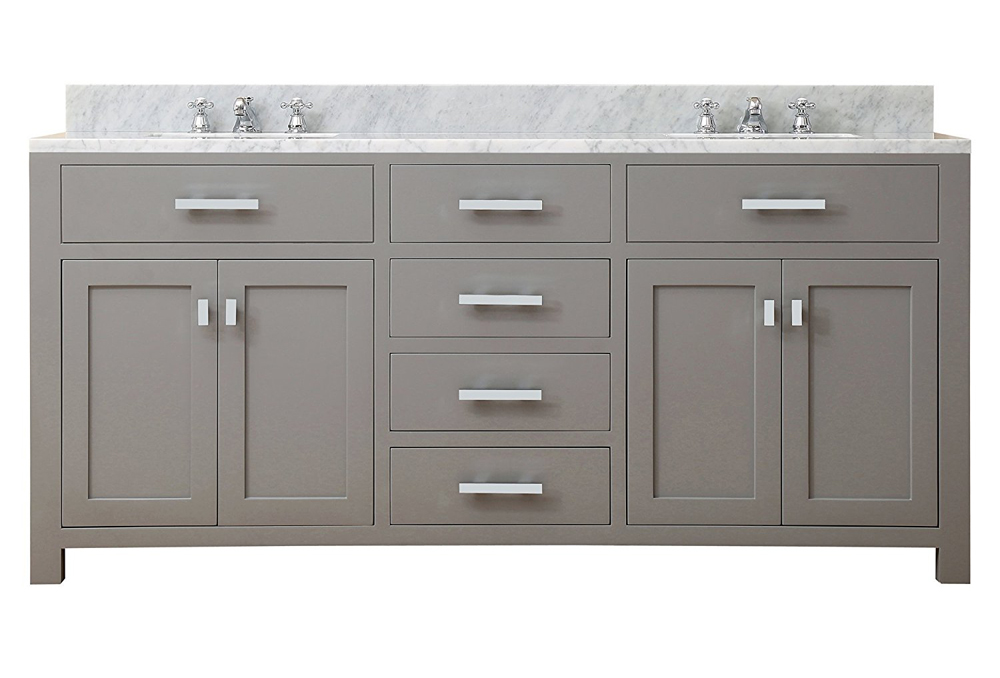 "Water Creation Madison 72G 72"" Cashmere Grey Double Sink Bathroom Vanity"