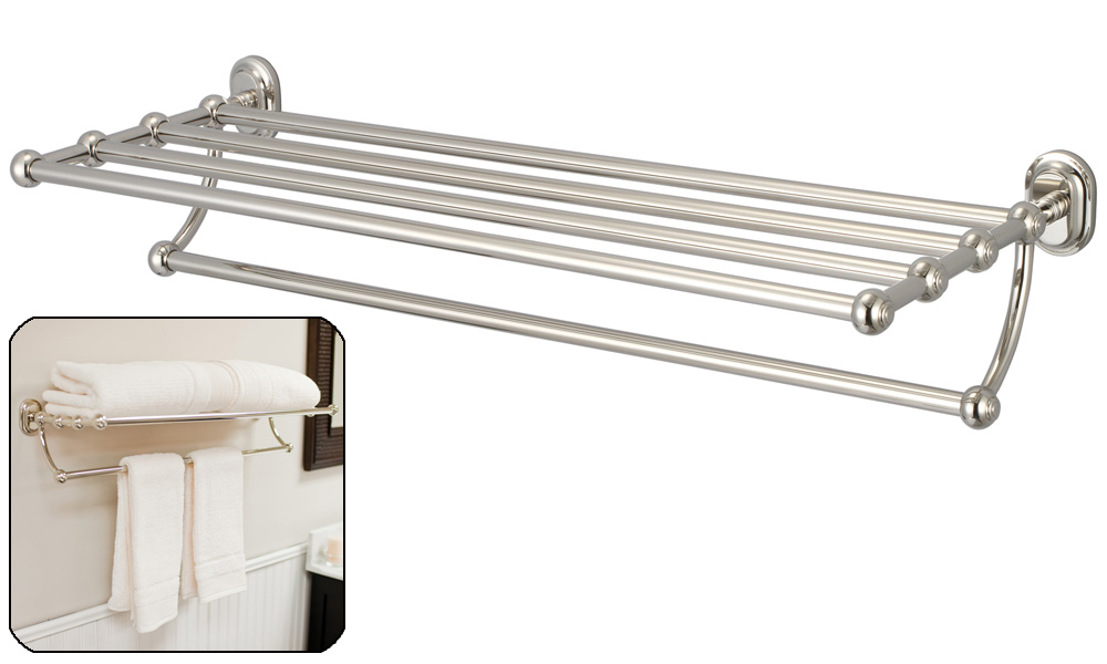 Multi-Purpose Bath Train Rack For Classic Bathroom, Polished Nickel PVD Finish